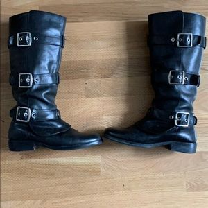 Coach riding buckle boots black leather